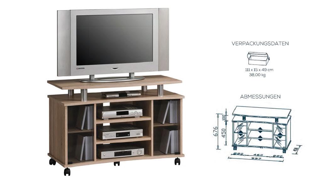 wohnen tv rack tv m bel 65852 sonoma eiche. Black Bedroom Furniture Sets. Home Design Ideas